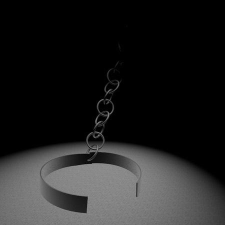 restraining: Open ring of chains, symbol of freed prisoner, 3d render