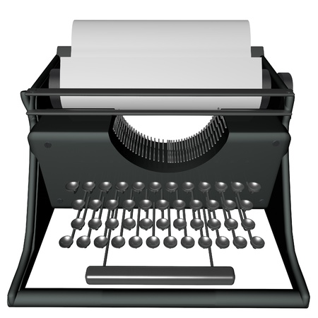 blak white: Typewriter isolated over white, with blak sheet, 3d render Stock Photo
