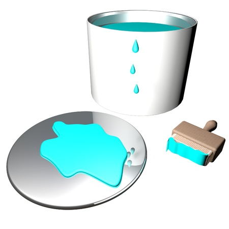 lite: Lite blue paint in barrel with brush, 3d render Stock Photo
