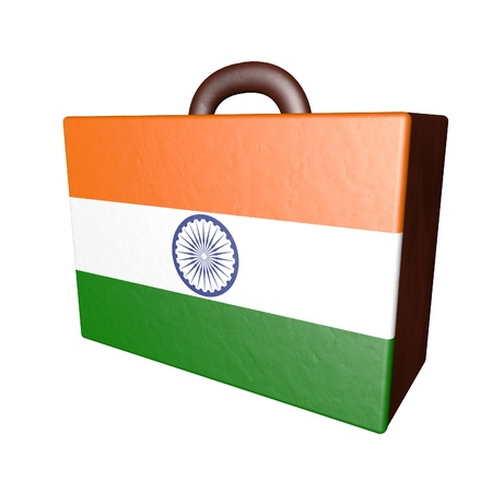 israel passport: Leather suitcase with Indian flag, isolated over white, 3d render