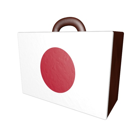 israel passport: Leather suitcase with Japan flag, isolated over white, 3d render