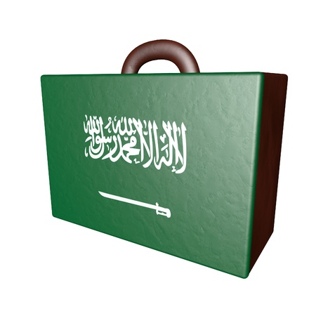 israel passport: Leather suitcase with Saudi Arabian flag, isolated over white, 3d render