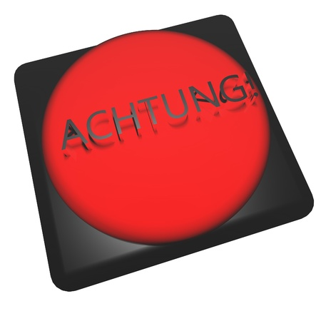 achtung: German word Achtung! (alert) over red button, 3d render Stock Photo