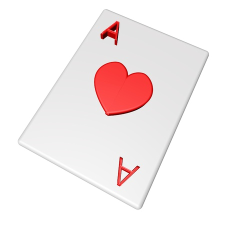 Card Ace of Hearts, isolated over white, 3d render photo