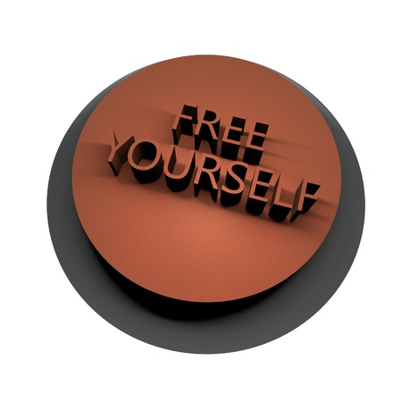 Words Free Yourself over button, 3d render photo