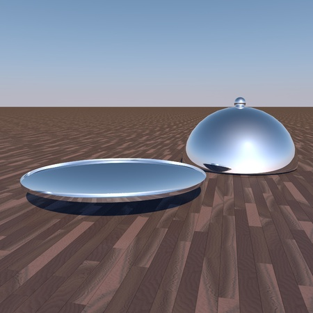 Shiny silver plate with cover over wooden table, 3d render photo