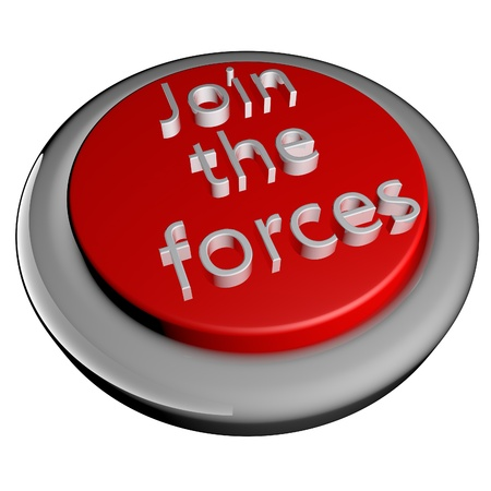 joining forces: Join the forces button isolated over white, 3d render