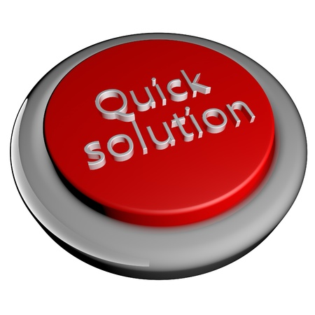 Quick solution words on button, 3d render, isolated over white photo