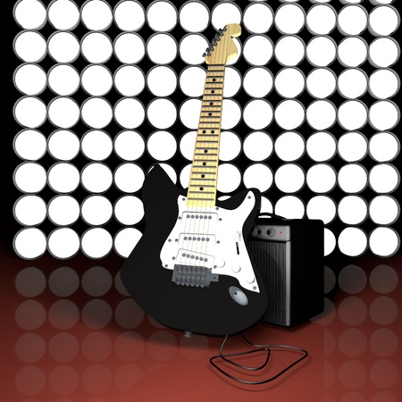 Electric guitar leaning against an amp, with circular lights on the back, 3d render photo