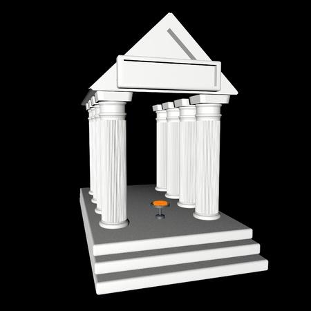White greek temple over black background, 3d render photo