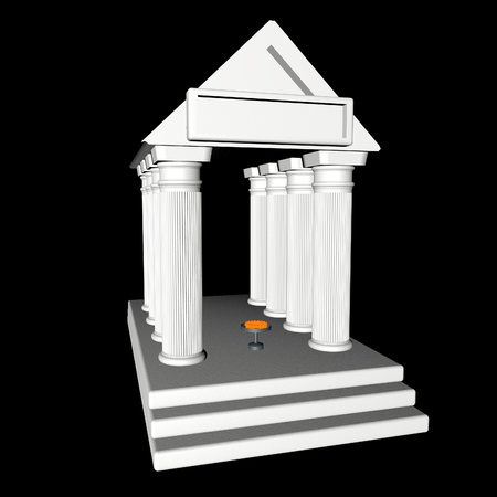 3d temple: White greek temple over black background, 3d render Stock Photo