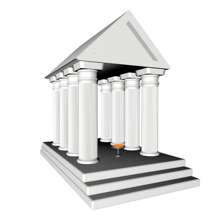 White Greek temple isolated over white, 3d render photo