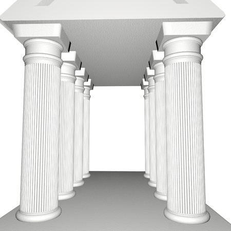 Greek Temple isolated over white, 3d render photo