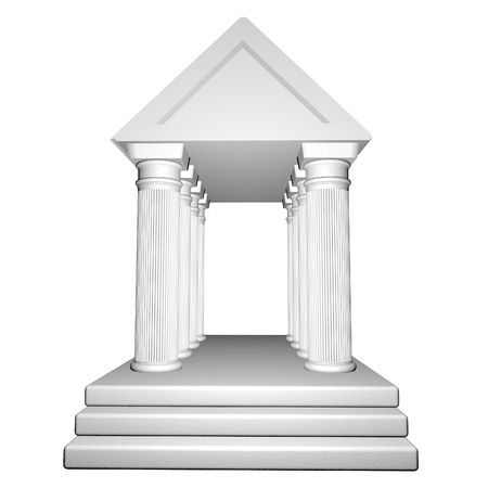 3d temple: Greek Temple isolated over white, 3d render Stock Photo