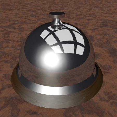 Table bell over wooden surface, 3d render photo