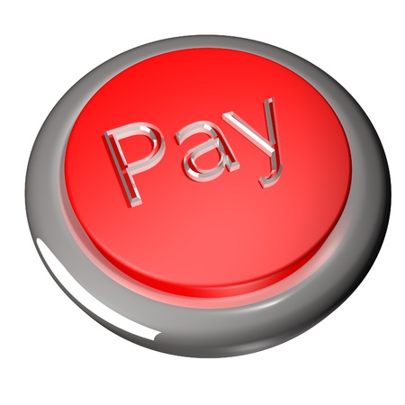 Pay button isolated over white, 3d render photo