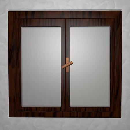 Closed window with wooden fixtures, 3D render