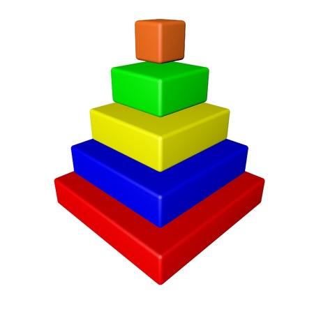 grades: Pyramid with grades of different colors, 3d render Stock Photo