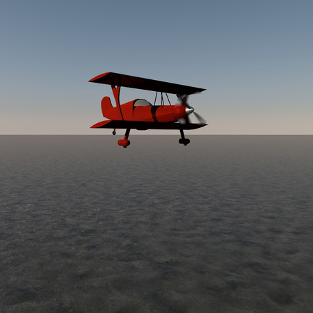 Red biplane flying over water, 3d render