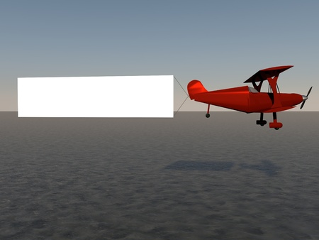 Red biplane with white banner, 3d render