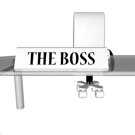 The Boss desk, over white, 3d render photo
