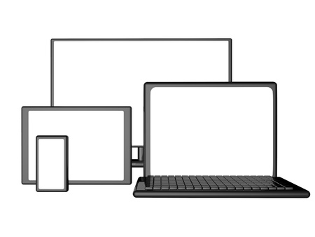 laptop screen: Monitor, laptop, smartphone and tablet with empty screen, 3d render Stock Photo