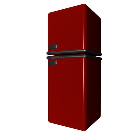 Refrigerator old style isolated over white, 3d render