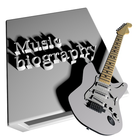 biography: Music biography book with electric guitar, 3d render Stock Photo