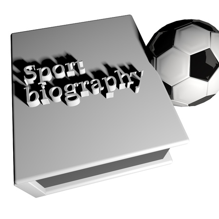 biography: Sport biography with soccer ball, 3d render Stock Photo