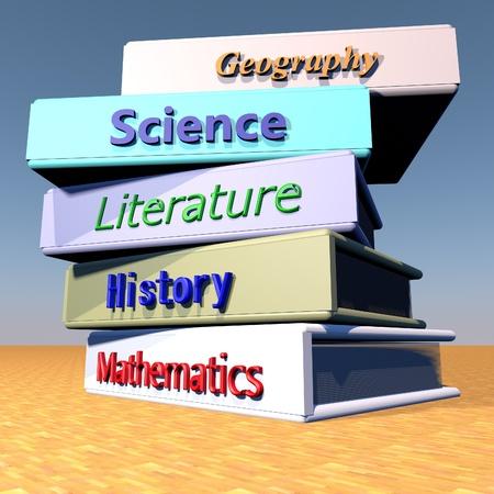 disciplines: Books with schools disciplines over wooden table, 3d render
