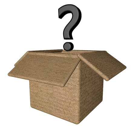 questionable: Interrogative point over open box, 3d render