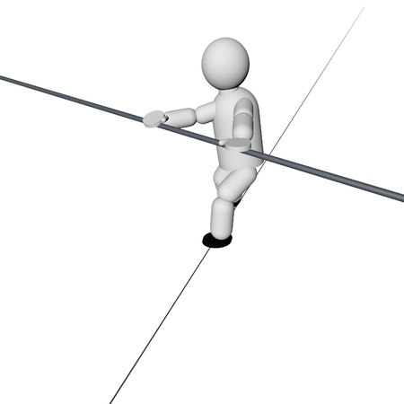 Acrobat walking on the rope isolated over white, 3d render photo