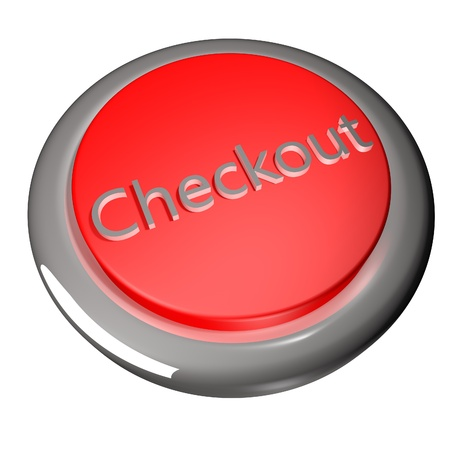 checkout button: Checkout button isolated over white, 3d render