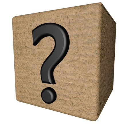 interrogativa: Punto interrogativo sobre la caja abierta, 3d