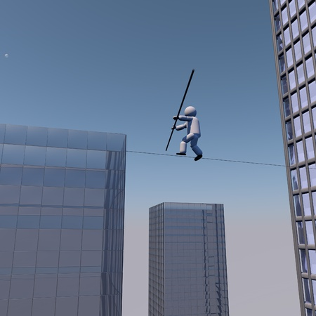 Acrobat walking on the rope over buildings, 3d render photo