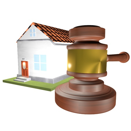 auction gavel: House and auction gavel over white background, 3d render