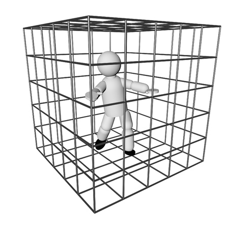 Puppet in the cage, isolated over white, 3d render
