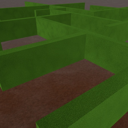 Labyrinth with green grass walls, 3d render photo