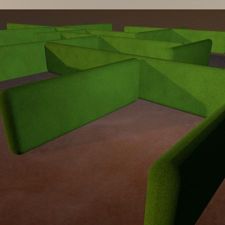 Labyrinth with green grass walls, 3d render