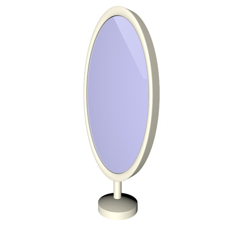Mirror for entire figure, isolated over white, 3d render