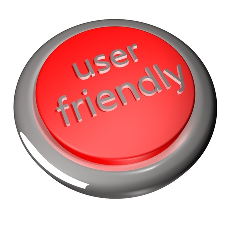 user friendly: User friendly button, isolated over white, 3d render