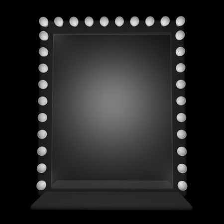 on mirrors: A mirror with bulbs around, 3d render
