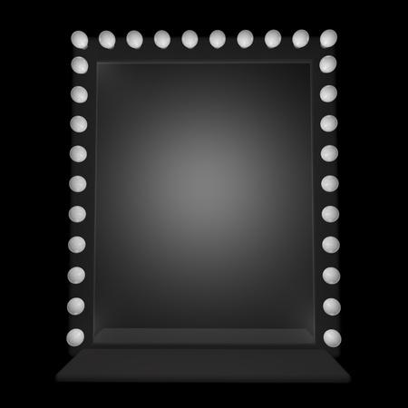 white light: Un espejo con bombillas alrededor, 3d
