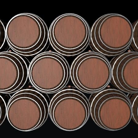 Barrels in piles, in the darkness, 3d render