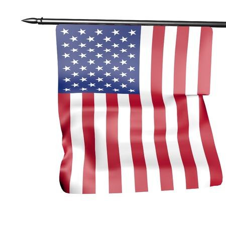 USA flag isolated over white, 3d render