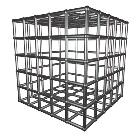 prison break: Metallic cage isolated over white, 3d render