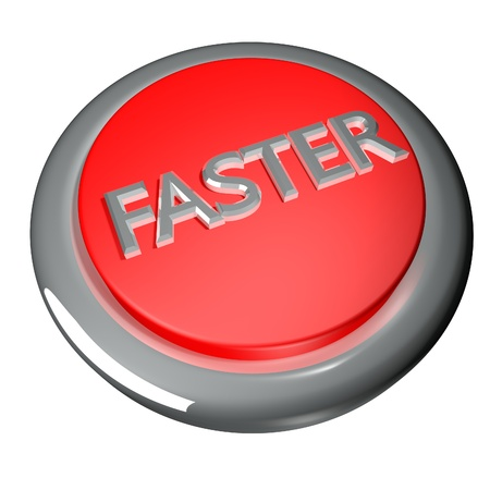 faster: Faster button isolated over white, 3d render Stock Photo