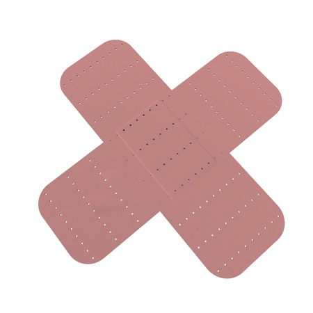 Crossed band aids isolated over white, 3d render