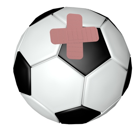 Soccer ball with band aids, 3d render