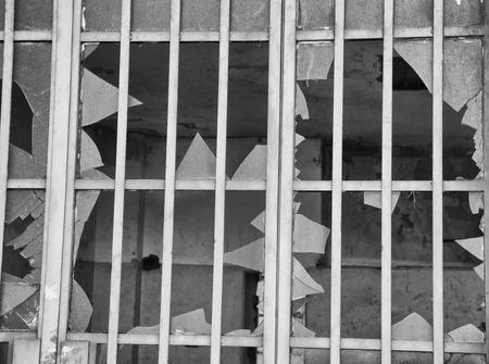 Broken window glass, black and white, hdr horizontal image